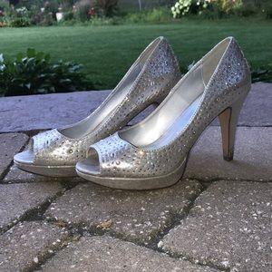 rinestone silver heels